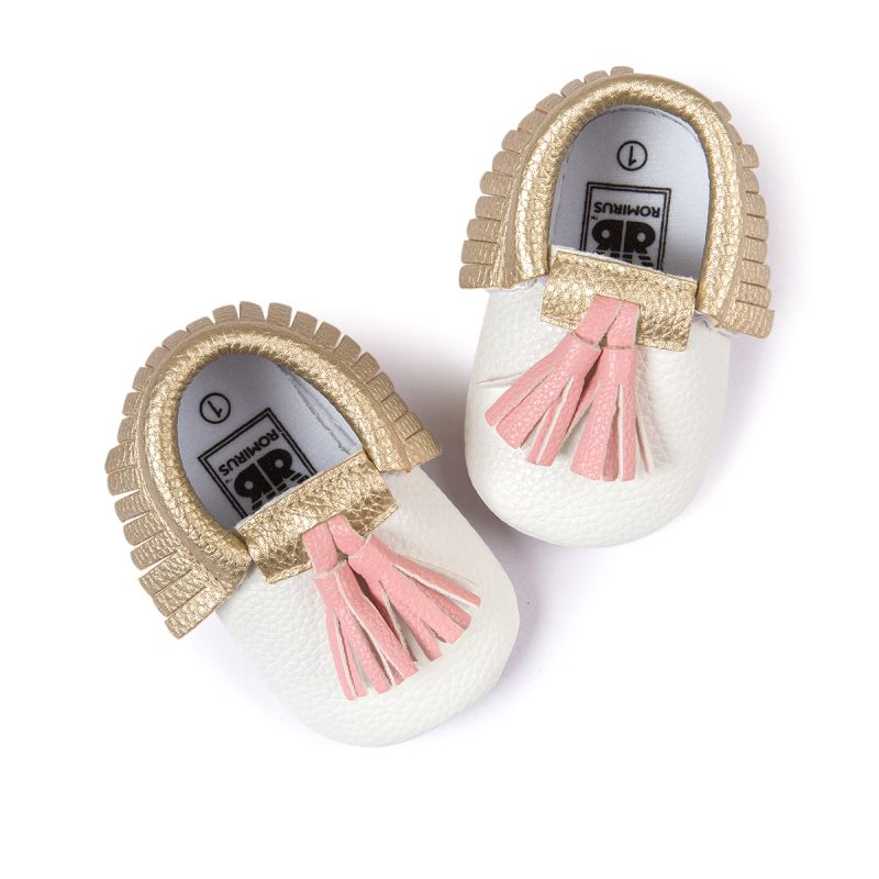 Baby Moccasins Shoes Baby Soft PU Leather Tassel Girls Bow Moccs Moccasin Bow First Walkers in First Walkers from Mother Kids
