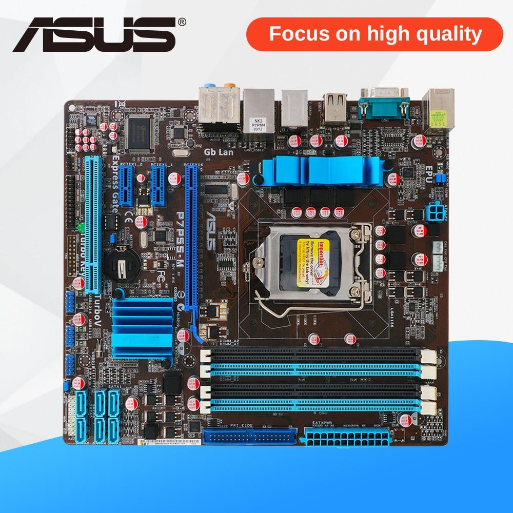 Asus P7P55-M Desktop Motherboard P55 LGA 1156 i5 i7 DDR3 16G SATA2 USB2.0 uATX