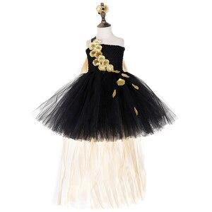 Image 3 - Vestido de tutú de pétalos de flores doradas negras para niñas tutú de tul para desfile de noche, vestido de boda para niñas, vestido de fiesta de cumpleaños
