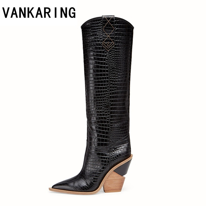 VANKARING brand design thick high heel leather cowboy women dress shoes autumn winter boots pointed toe