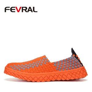 Image 2 - FEVRAL zapatos de tejido hechos a mano para mujer, mocasín clásico, cómodos, sin cordones, planos, informales