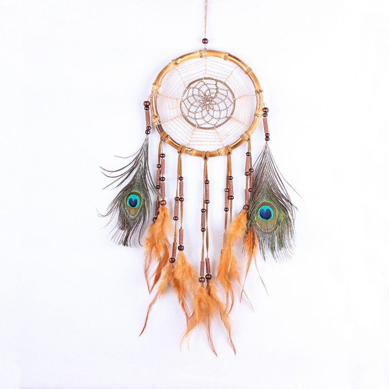 2017 Beautiful Dream Catcher Hand-woven Crafts bamboo ring Peacock featherr Pendant for Home Wall Decorations Car Hanged Adorn