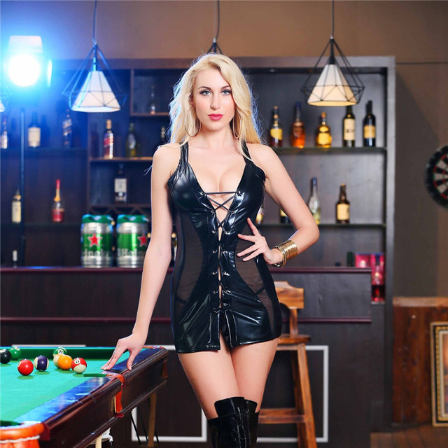 Women Sexy Lingerie Hot Black Latex Teddy Lenceria Sexy Babydoll Mini Dress Sexy Nightclub Costumes PU Leather Sexy Underwear 5