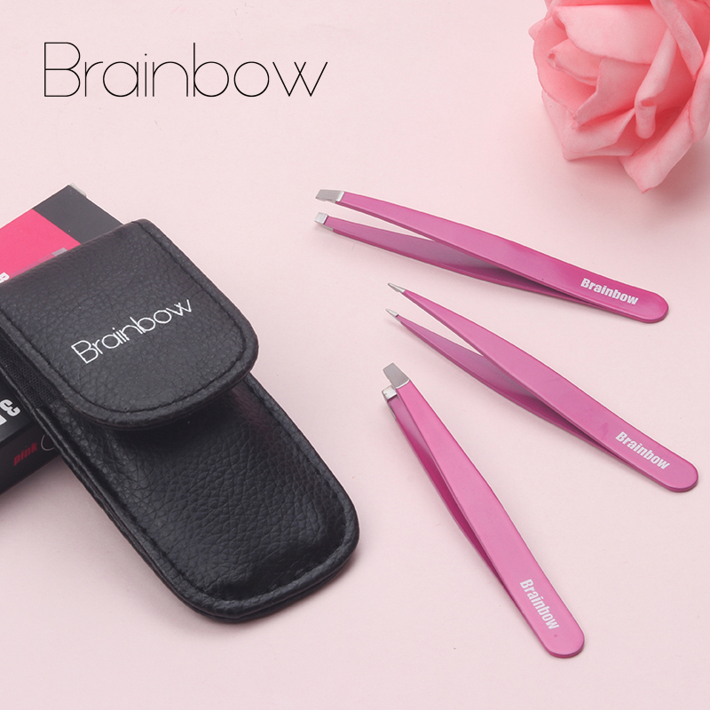 Brainbow 3pcs pince à sourcils réglé en acier inoxydable pointe inclinée / pointe pointe / pointe plate pinces pour épilation du visage Make Up Tools