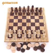 High Quality New Design 2in1 Wooden International Chess And Checkers Set Draughts Travel Entertainment Board Game Children Gifts