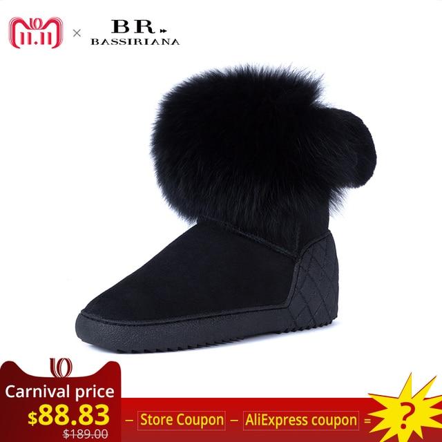 Bassiriana/Новые 2017 натуральной овчины теплые замшевые зимние ботильоны женская обувь увеличение меховые стельки с круглым носком 36-40 размер