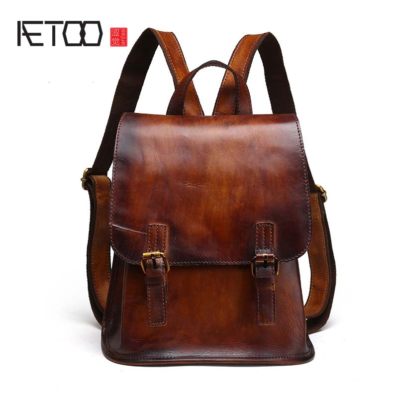 AETOO The new retro women backpacks fashion shoulder bag head layer of leather hand rub color retro personality backpack smc the new head of passing filter aff150a 40