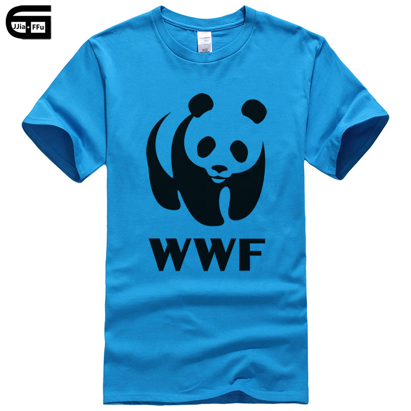 2018 Summer Animal Print WWF Panda   T  -  shirt   cotton top Fashion Brand   t     shirt   men new DIY Style high quality Tee Male T162