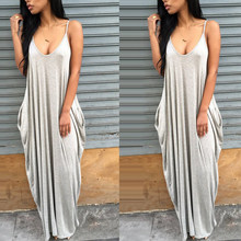 Fashion Summer Women Dresses Sexy Strap V Neck Solid Color Sleeveless