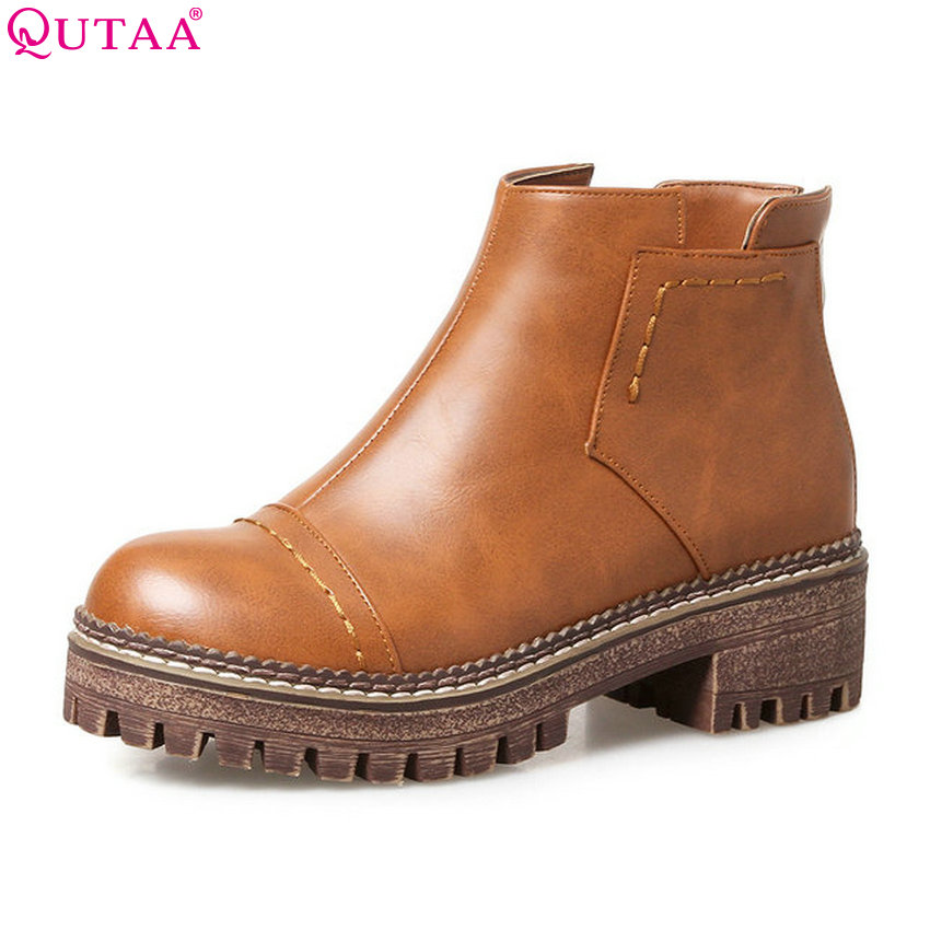 QUTAA 2018 Women Ankle Boots Fashion Zipper Pu Leather Round Toe Square Heel All Match Spring and Autumn Ladies Boots Size 33-43 nemaone 2018 women ankle boots pu leather square high heel round toe zipper sweet boots all match ladies boots size 34 43