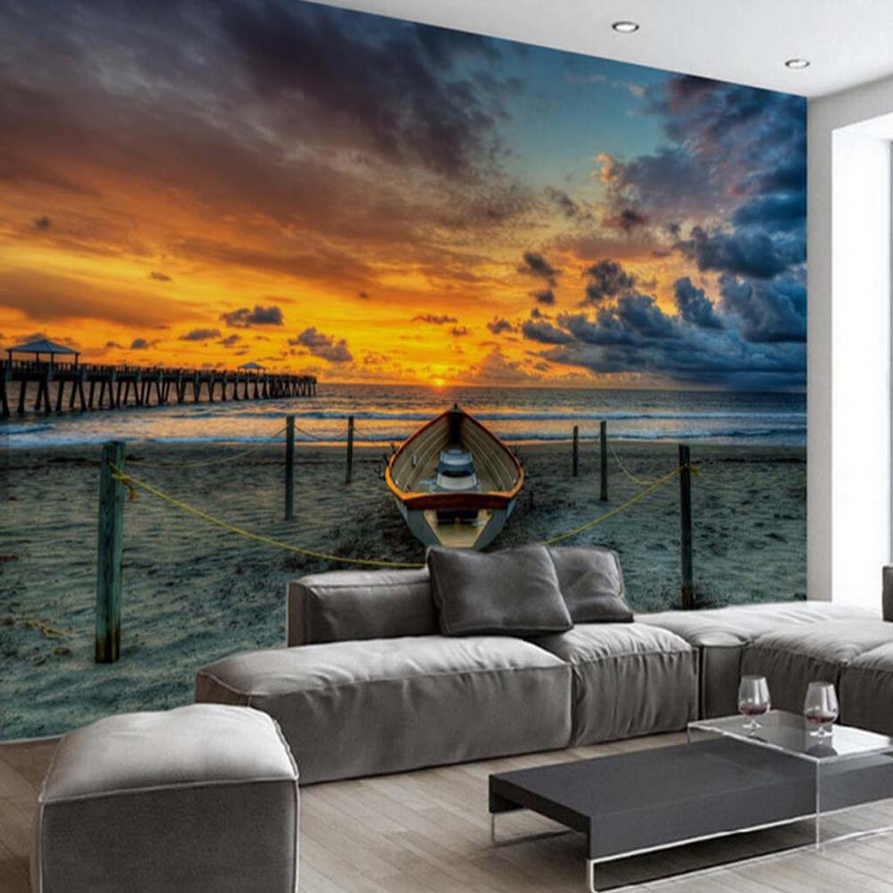 sunset wall beach living mural decor bedroom 3d paper wallpapers custom aliexpress textured any