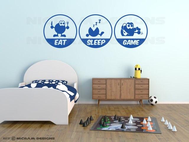 2017 mode mangez le jeu de sommeil drôle mur art vinyle console