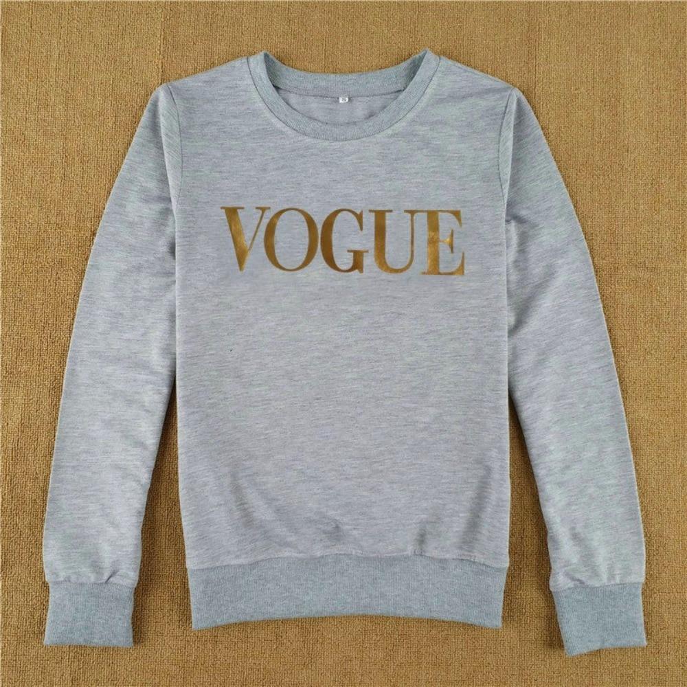 Vogue Trui Kopen.Goede Kopen Gold Vogue Brief Afdrukken Hoodies Vrouwen Herfst Winter