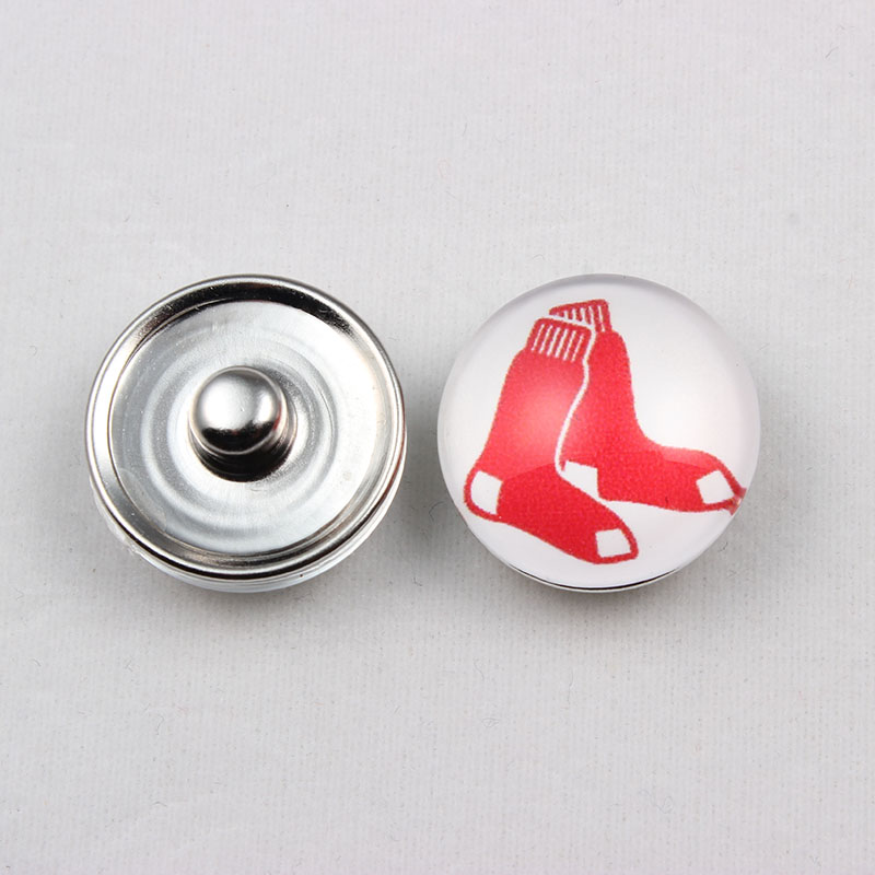 18mm Glass Baseball Boston Red Sox Snap Button Charms For Snap Button Jewelry (20 Pcs)
