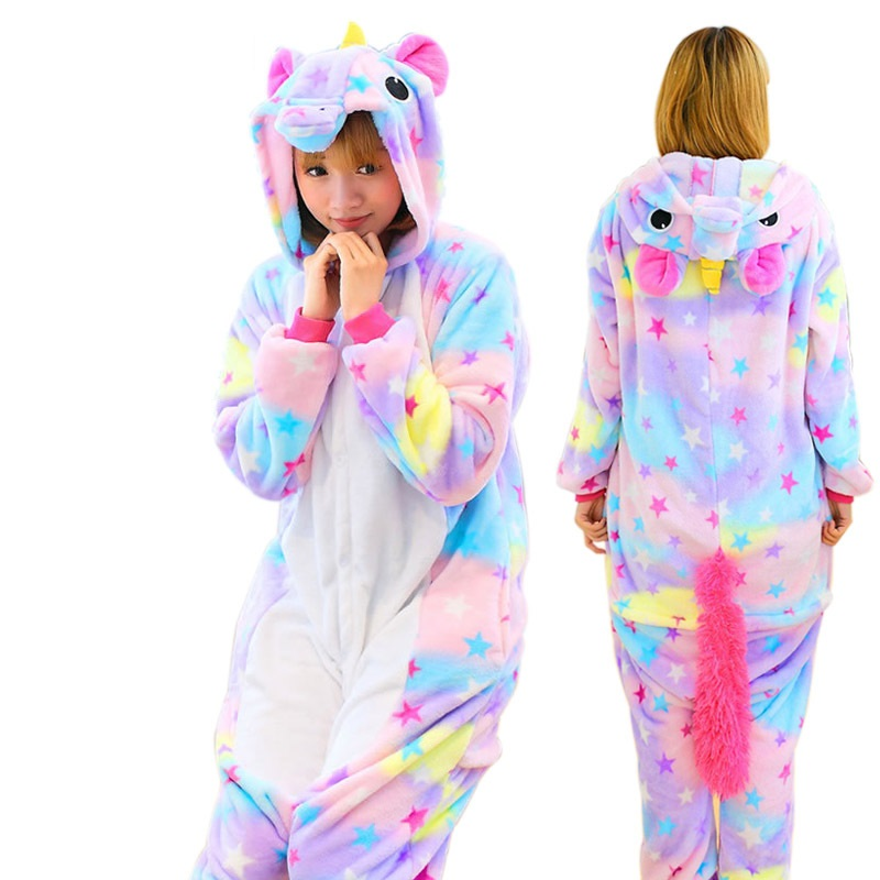 Anime Flannel Long Sleeve Hoodie Star Unicorn Pajamas For Women Adult Cartoon Sleepwear Winter Animal Homewear Unicornio Pyjama