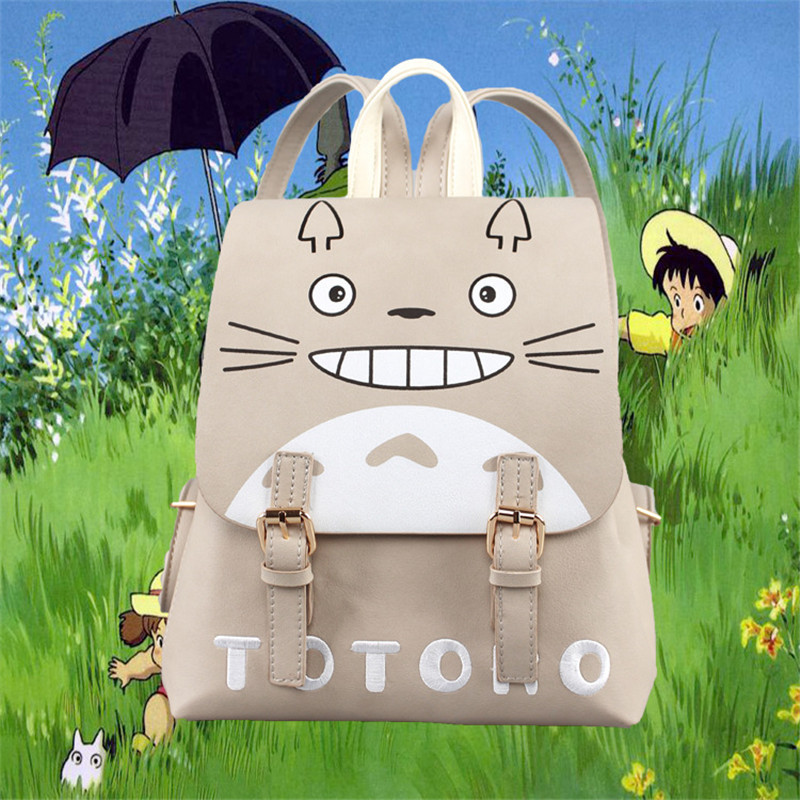 Japan Anime My Neighbor Totoro Designer Cartoon Women Girls Pu School Book Bag Rucksack Backpack Gift