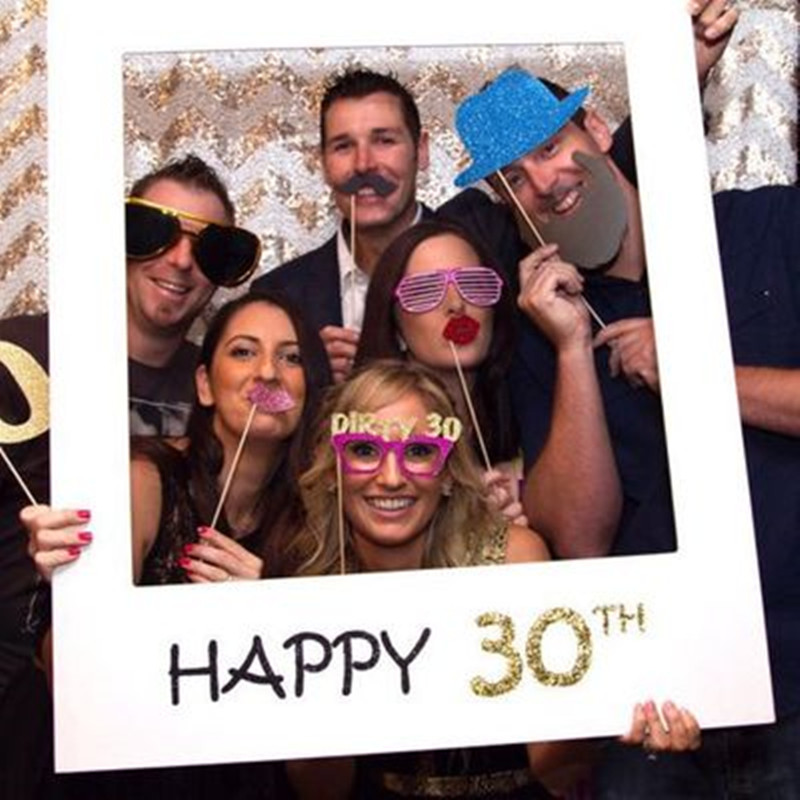 Happy Birthday Photobooth Paper Happy 30 40 50 Year Old Frame Photo Booth Props Birthday Decoration Adult Event Party Supplies