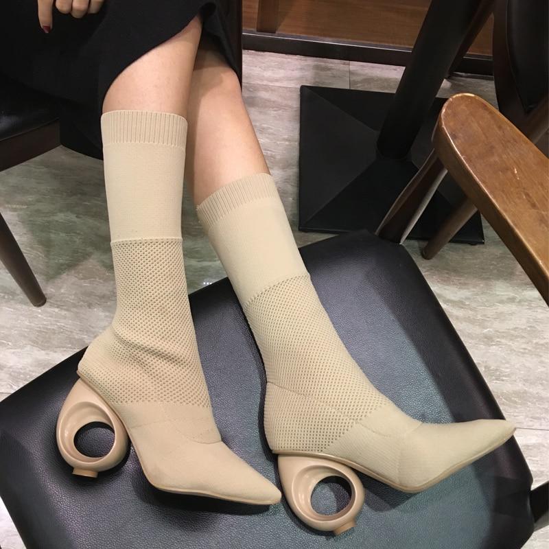 Chaussures Talons Femmes Pointu Sur Tricoté Bottes Nouveau De E57 Tissu Bout À Spécial Cercle Tirer qtARctf
