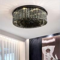 רומנטי מודרני תקרת אורות LED תקרת מנורות לסלון קריסטל Laminarias Para Teto עגול Plafondlamp שינה Avize