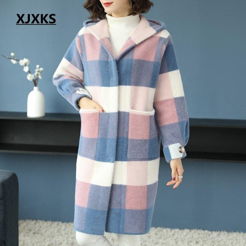 Cachemire Long Hiver Laine 2018 Outwear Manteau Femme Xjxks De Femmes Kaki rose Livraison Gratuite Mode Capuche Chaud Plaid À Eq786Rw8