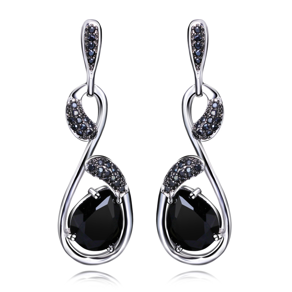 Fashion Secret Women Long Drop Earrings Premium Quality Jet Black Clear White Cz Lead Free Music Note Look Platinum Plated In From Jewelry