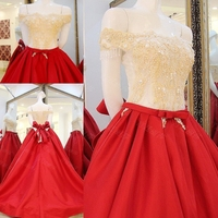 2016 Bridal Gowns A Line Red Dress Satin Lace Beading Stones Women Wedding Dresses Vestidos De