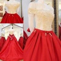 2017 Bridal Gowns A line Red Dress Satin Lace Beading Stones Women Wedding Dresses vestidos de novias WS60