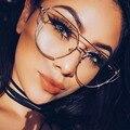 Hot 2017 Mais Novo Gato Olho óculos Óculos de Armação Mulheres Grife Twin-Vigas Óculos de Metal Quadro Óculos de Forma Clara Gota navio