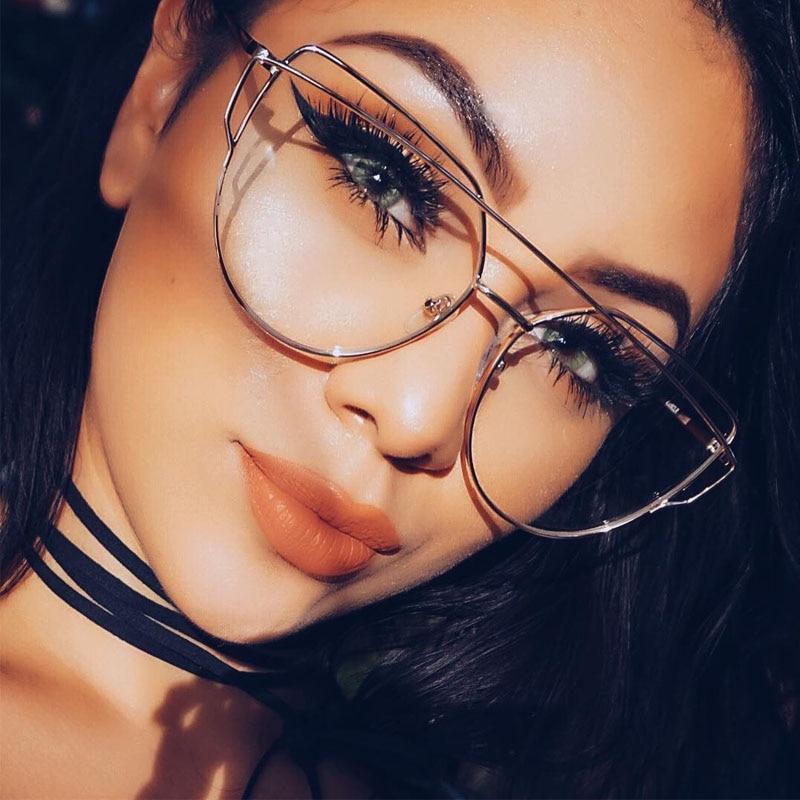 Hot 2017 Newest Cat Eye Glasses Frame Women Brand Designer Twin-Beams Metal Eyeglasses Frame Clear Fashion Glasses Drop Ship