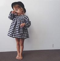 New Spring Autumn Baby Girl Dress Black And White Classic Plaid Kids Dresses For Girls Long