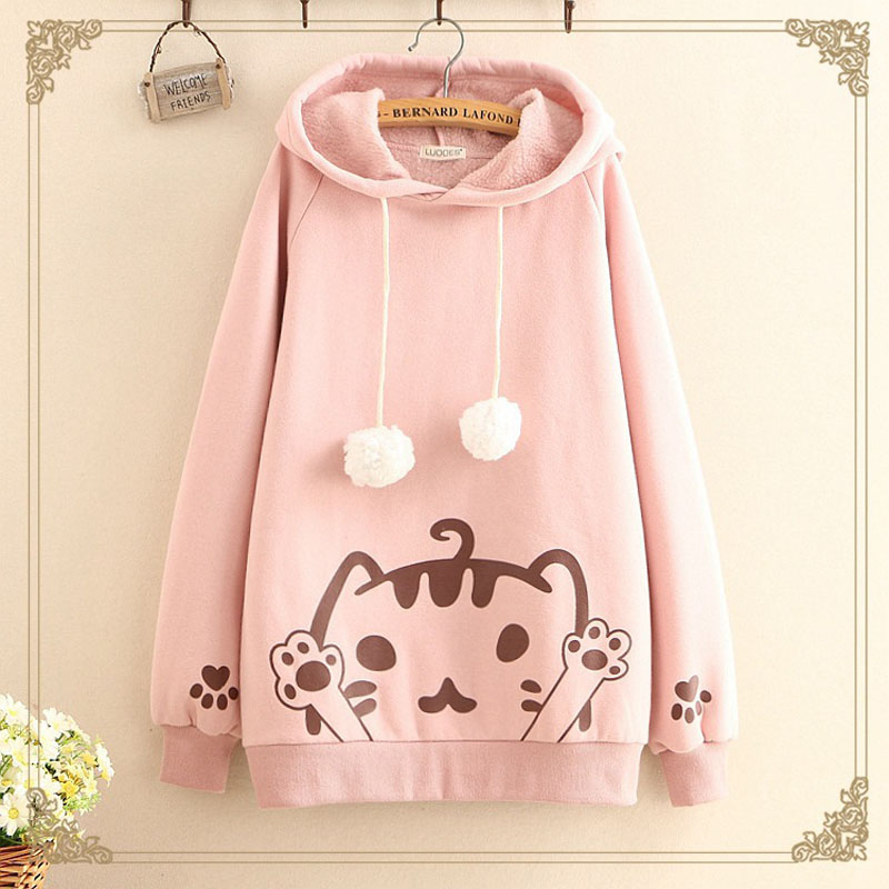 Lolita Girls Hoodies Long Style Harajuku Casual One Size Kawaii Meow Cat Paws 3D Ears Pullover Sweet Sweatshirt
