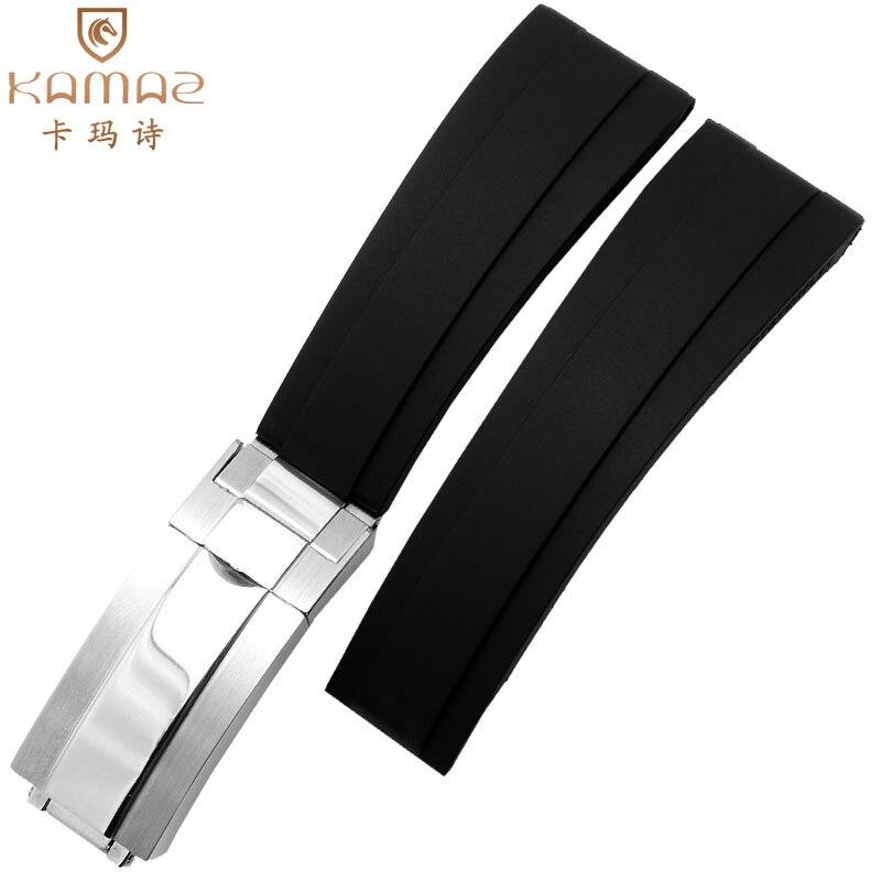 Bracelet de montre en caoutchouc bande de caoutchouc de haute qualité en acier inoxydable résistant à l'eau et à la sueur vente chaude plat Silicone noir 20mm