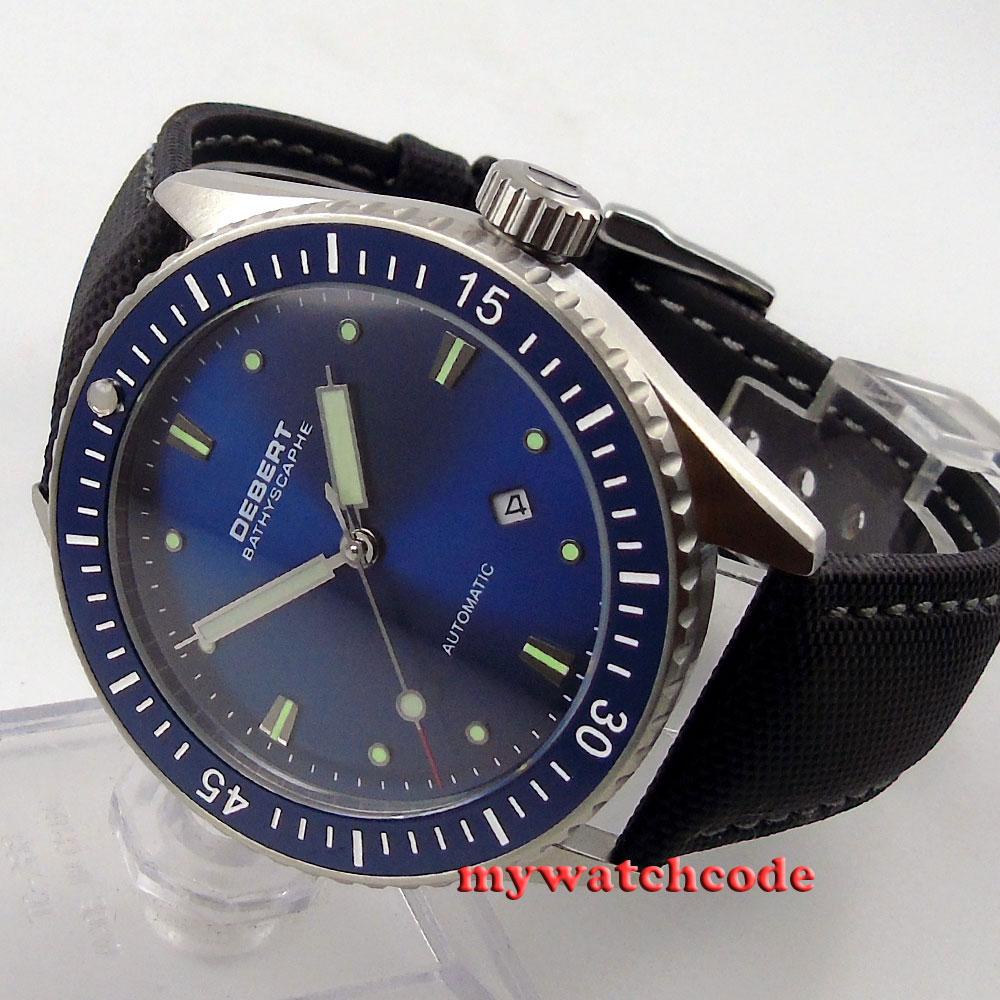 43mm Debert blue dial ceramic bezel Sapphire Glass miyota Automatic mens Watch 32 debert 41mm blue dial ceramic bezel leather strap miyota automatic mens watch