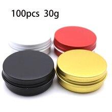 Lot von 100 stücke 30ml Aluminium Gläser Lip Balm Töpfe 30g Kosmetische Behälter schwarz Dosen rot 30g rotierenden top aluminium kann großhandel