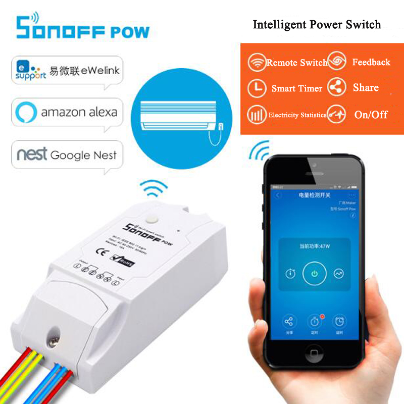 Itead Sonoff Pow, Wireless WiFi Switch,ON/Off 16A With Real Time Power Consumption Measurement Switch,Home Appliance IOS Android itead sonoff pow wireless intelligent automation module switch wifi smart home remote power consumption measurement 16a 3500w