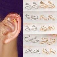 8 Styles mode gracieuse oreille pince personnalité argent/or couleur pince boucles d'oreilles pour fille femmes