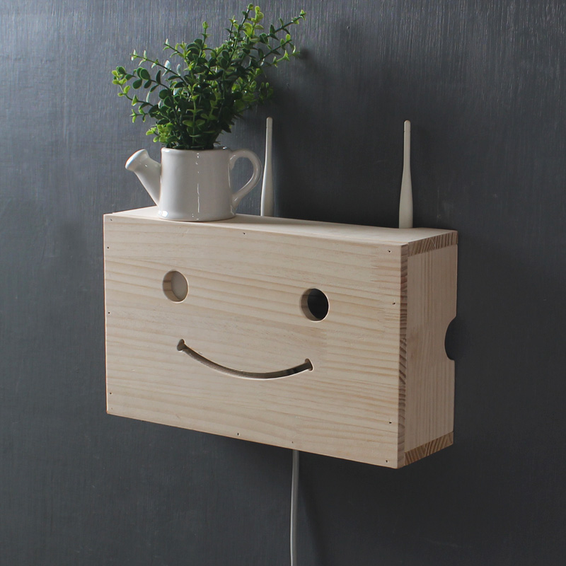 Creative wood cute expression router storage box Personality wall wooden storage box