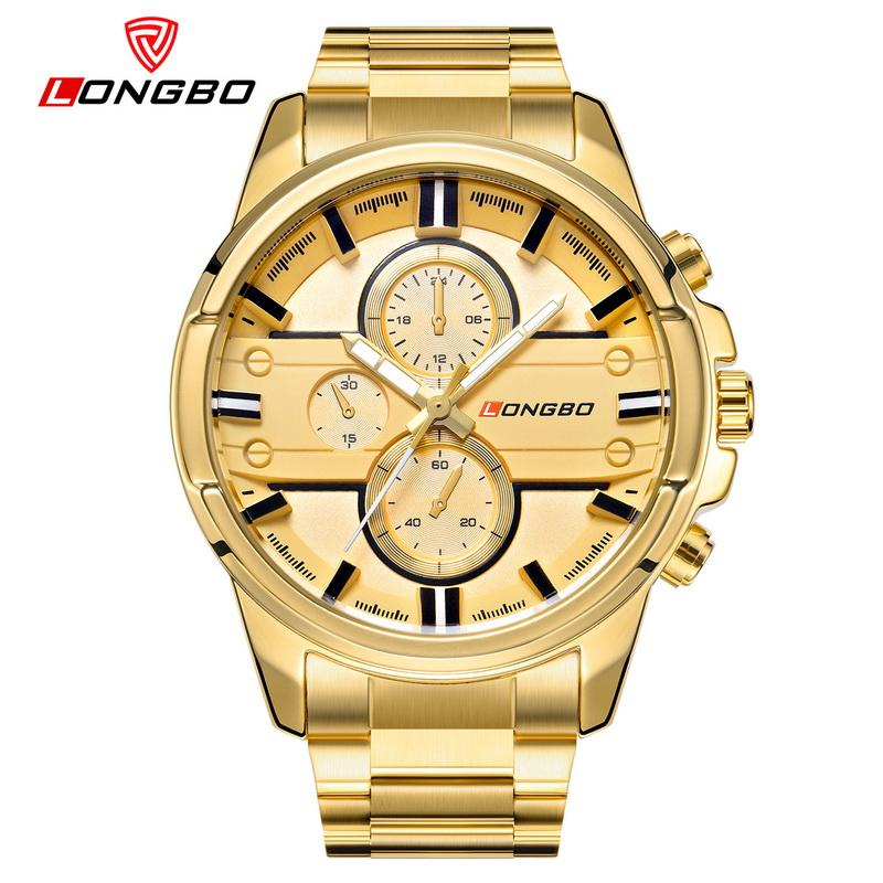 Fashion Simple Style Top Luxury Brand LONGBO Watches Men Stainless Steel Wristwatches Quartz-watch Big Gold Dial Clock Man Watch