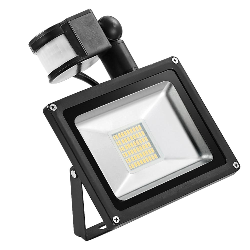 एलईडी फ्लड लाइट मोशन सेंसर 30W 220V एलईडी फ्लडलाइट स्ट्रीट गार्डन लाइट्स एलईडी सेंसर रिफ्लेक्टर लैंप वाटरप्रूफ आउटडोर लाइटिंग