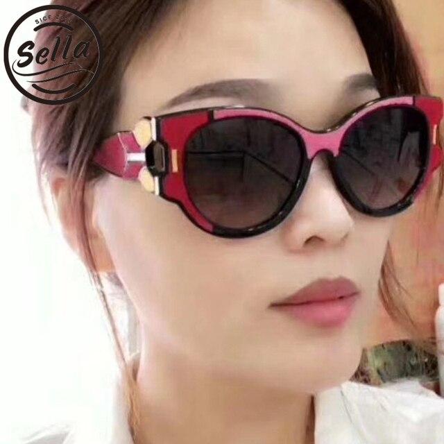 283994af599 Sella New Fashion Women Cateye Sunglasses Brand Designer Mixed Color Gradient  Lens Summer Popular Ladies Sun