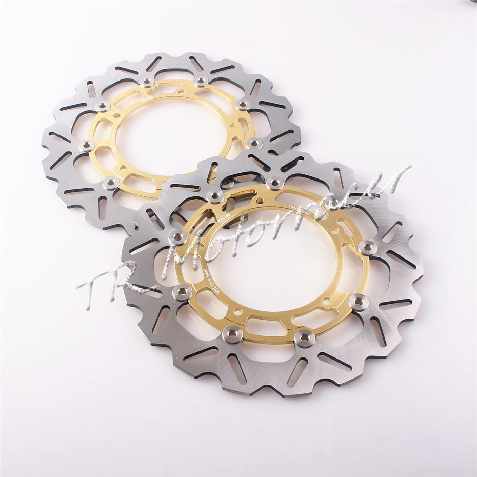 1 Pair Front Brake Disc Rotor For YAMAHA YZF R6 2005 - 2014 YZF R1 2007 - 2011 FZ8 2010 -15 2012 2013 Gold brand front brake disc rotors for yamaha 2007 2011 yzf r1