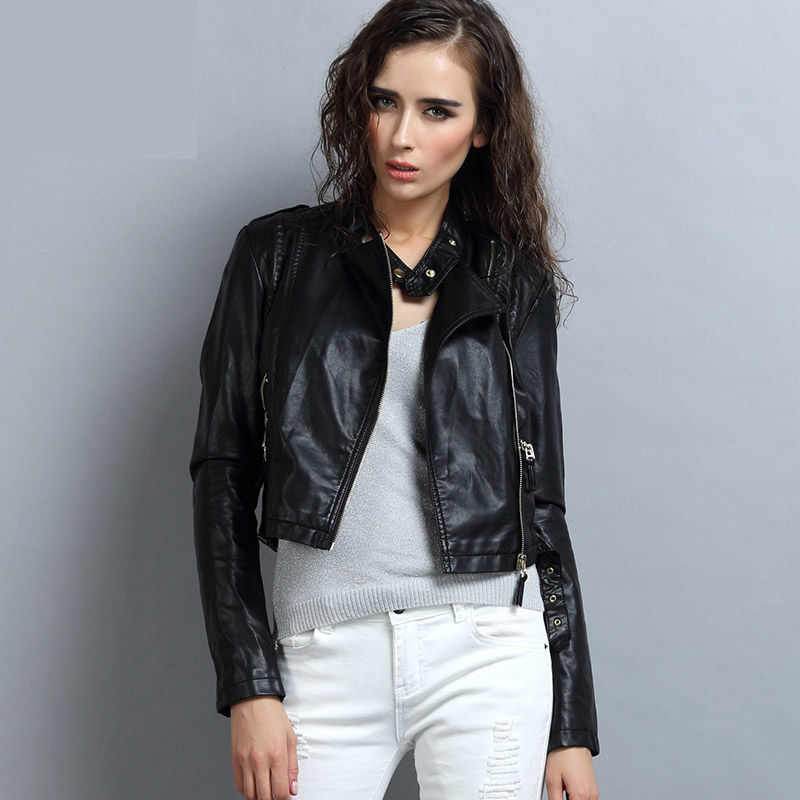 2018 spring and autumn   leather   clothing female short design PU motorcycle   leather   coat color block slim faux   leather   jacket