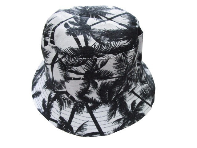 08ccea2b Free Shipping 2018 New Summer Black White Coconut Tree Bucket Hats Fishing  Caps For Mens 58cm
