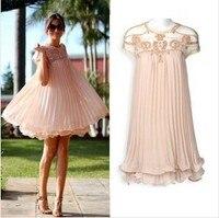מעצב קוריאני סתיו האחרון משלוח חינם Vestido Stlye חמוד שרוול קצר תחרת קפלים שמלת שיפון קצרה חמה למכירה