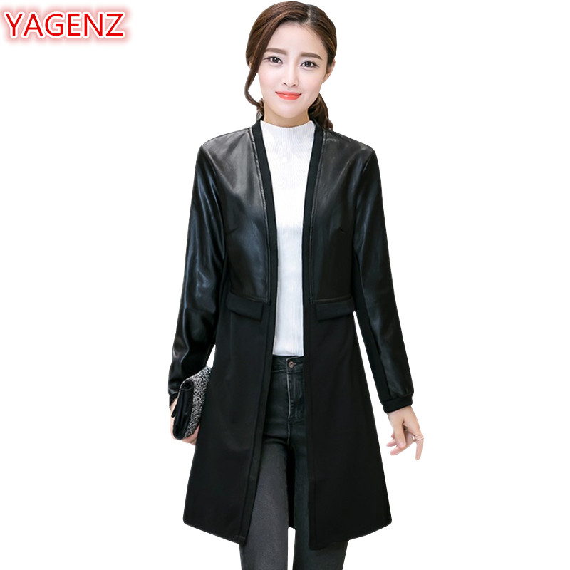 YAGENZ Spliced   Leather   Jacket Women 2018 Spring Autumn Coat Women Temperament Slim   Leather   Cardigan Outerwear Long section 1014
