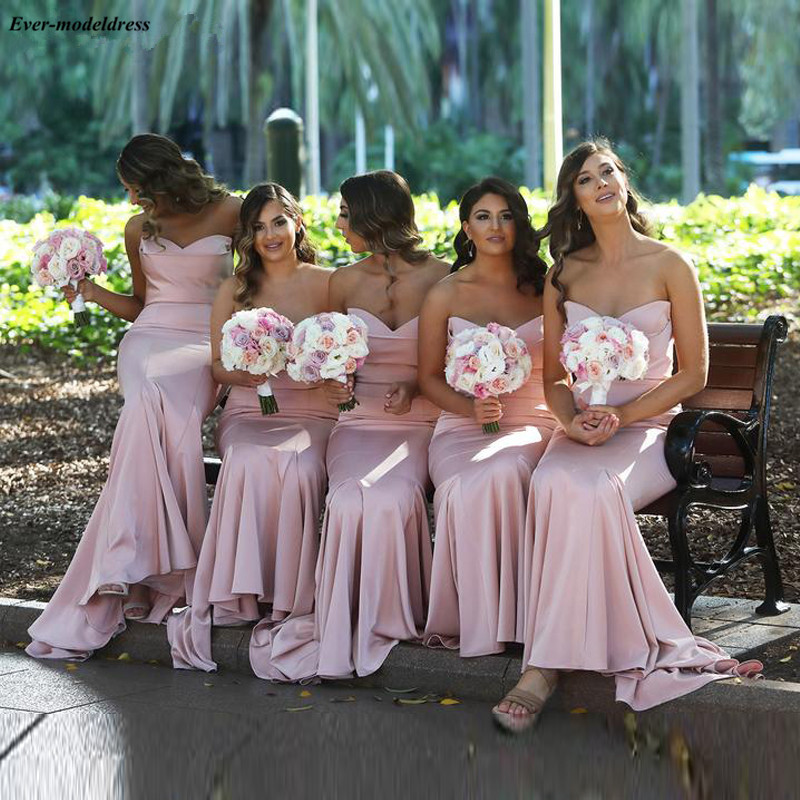 Simple Pink Sweetheart Mermaid   Bridesmaid     Dresses   Long 2019 Western Country Maid Of Honor   Dress   Cheap Summer Wedding Guest Gowns
