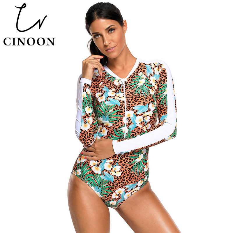 Hospitable Cinoon Retro Monokini Floral Print Accent Leopard Long Sleeve One Piece Swimsuit L410483 Women Sexy Swimsuit Zipper Bathing Suit As Effectively As A Fairy Does Sports & Entertainment