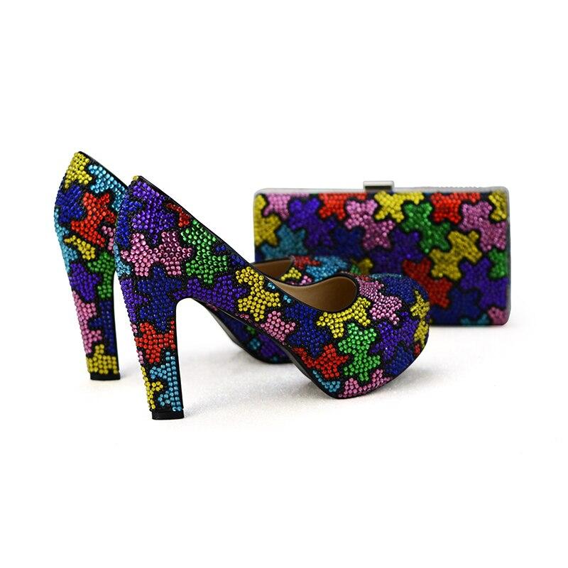 اليدوية متعدد الألوان مكتنزة كعب حذاء الزفاف مع النساء حفلة موسيقية اللباس أحذية مع مطابقة حقيبة الفاصل الحرفي-في أحذية نسائية من أحذية على  مجموعة 3