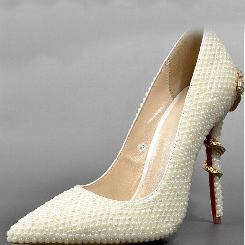 9dd9da2b8553 Sexy à talons hauts Formelle Chaussures Ivoire Bout Pointu Perle De Mariage  De Mariée Chaussures Lady Talons Femme Robe Chaussures De Bal chaussures
