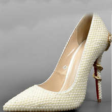 Sexy High-heeled Formal Shoes Ivory Pointed Toe Pearl Wedding Bridal Shoes Lady High Heels Woman Dress Shoes Prom Shoes